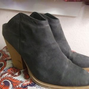Grey suede leather ankle boots